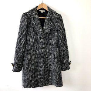 CABI salt pepper tweed pea coat blazer M